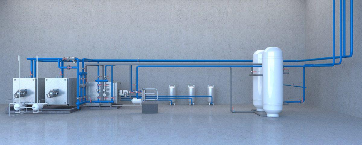 Produccion de calor y sala de acumulación con tuberias de polipropileno