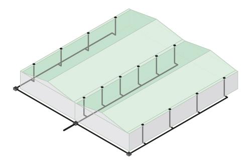 Esquema de lineas de tuberias en sistema gravitatorio convencional