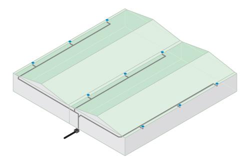 Esquema de lineas de tuberias en sistema drenaje sifónico RainPlus